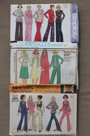 Vintage Sewing Patterns Lot 70s Retro Fashions In Plus Sizes