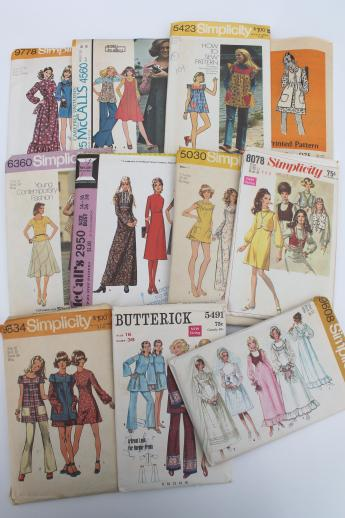 vintage sewing patterns lot, 70s retro granny dresses, prairie dress ...