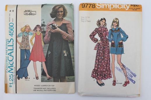 vintage sewing patterns lot, 70s retro granny dresses, prairie dress ...