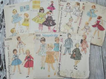 vintage sewing patterns lot, frilly full skirted dresses for little girls 1-2-3
