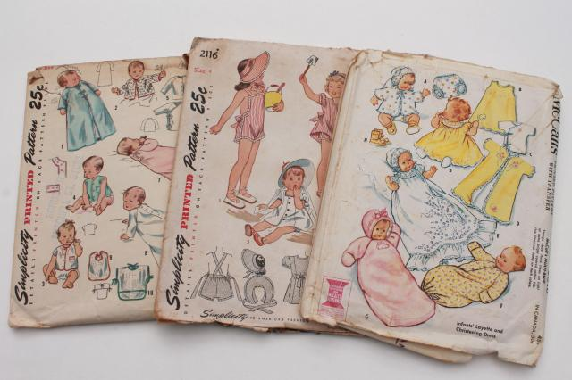 vintage sewing patterns lot, infant layette baby clothes, gowns ...