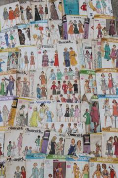 vintage sewing patterns lot, retro 60s 70s dresses, pants etc. 50+ patterns