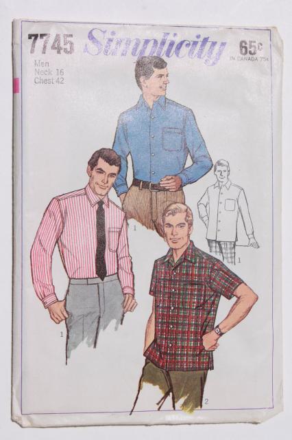 vintage sewing patterns, retro 70s cowboy western style men\'s shirts ...