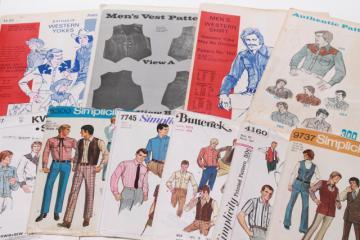 vintage sewing patterns, retro 70s cowboy western style men's shirts & vests