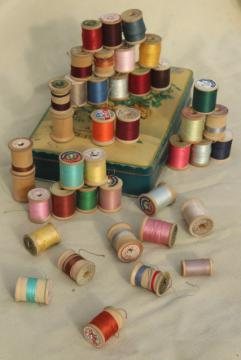vintage sewing thread on wood spool reels, pure silk & Sylko type mercerized cotton