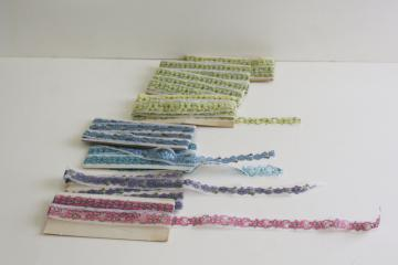 vintage sewing trim, lace seam tape binding & flat insertion w/ flowers in different colors