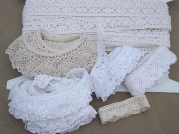 vintage sewing trim lot, cotton lace edgings & cluny lace