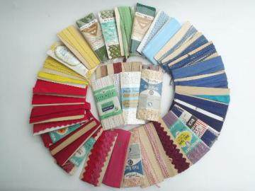 vintage sewing trim lot, cotton seam tape quilt  binding & rick-rack