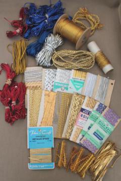vintage sewing trim lot, gold & silver metallic rick-rack, red & blue uniform braid