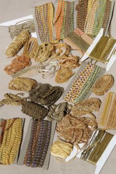 vintage sewing trims lot, gold braid lace & antique passementerie trimmings