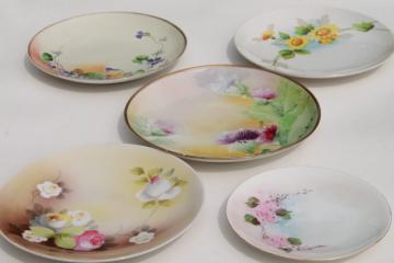 vintage shabby chic china, antique porcelain plates w/ hand painted flowers