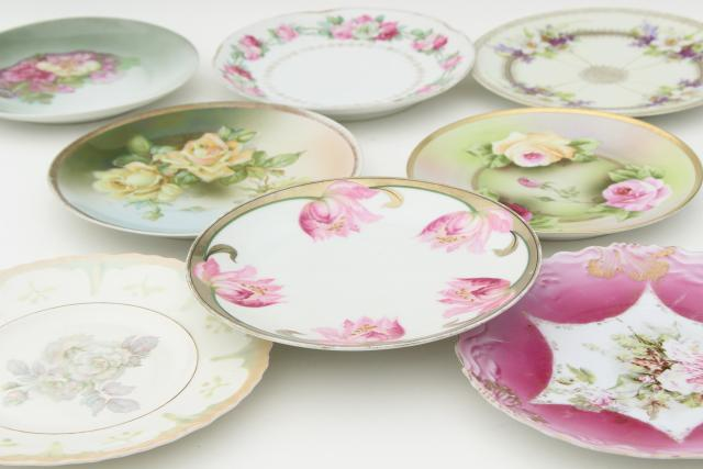 vintage shabby chic floral wedding china, antique porcelain plates w/ hand painted flowers