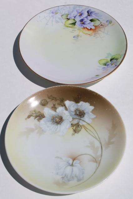 Vintage Shabby Chic Floral Wedding China Antique Porcelain Plates W Hand Painted Flowers