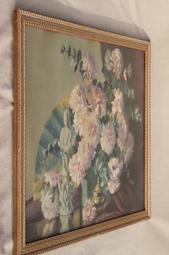 Vintage Shabby Chic Gold Wood Framed Floral Still Life