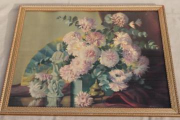 vintage shabby chic gold wood framed floral still-life color tinted photo print