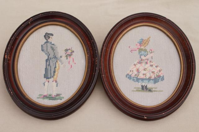 vintage shabby cottage chic framed needlepoint pictures, boy & girl in oval wood frames