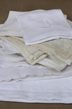 vintage shabby cottage chic linens lot towels, runners, small tablecloths w/ lace & fancywork