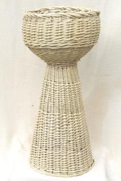 vintage shabby white wicker fern stand, jardiniere w/ large rattan plant basket