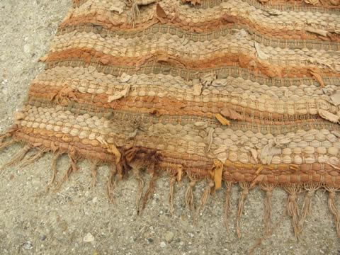 vintage shaggy cotton rag rug lot, two throw rugs, natural earth colors