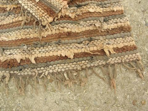 Vintage Shaggy Cotton Rag Rug Lot Two Throw Rugs Natural