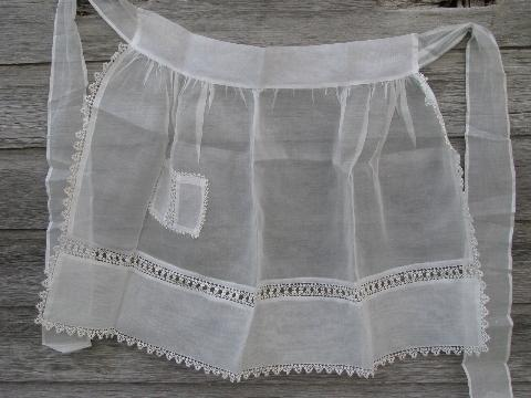 vintage sheer cotton aprons w/ tatting and rick rack lace insertion
