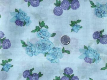 vintage sheer cotton fabric, floral print roses on blue, 60s retro