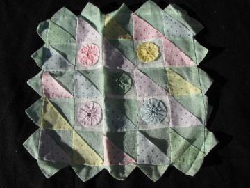 vintage sheer cotton organdy pillow cover, pastel piecework & yoyos