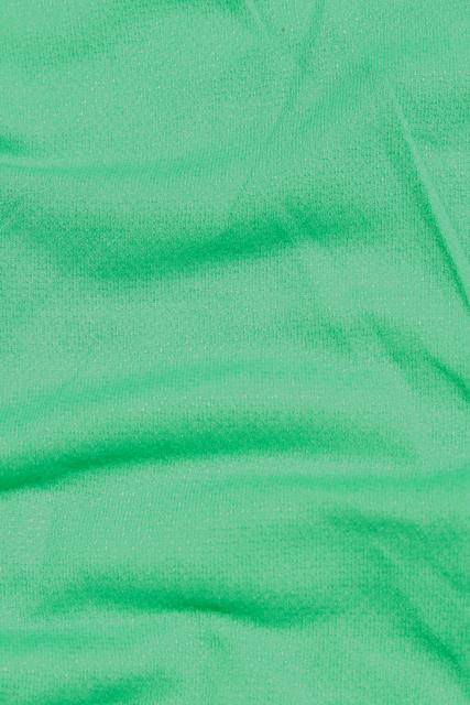 vintage sheer jersey knit fabric, soft light stretchy poly blend, retro kelly green solid