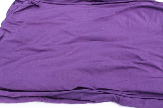 vintage sheer jersey knit fabric, soft light stretchy poly blend, retro purple solid