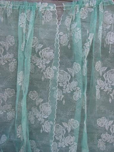 vintage sheer summer curtains, jadite green net w/ white flocked roses