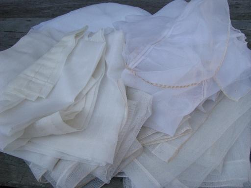 vintage sheer summer curtains, unsorted estate lot ruffled white priscilla etc.
