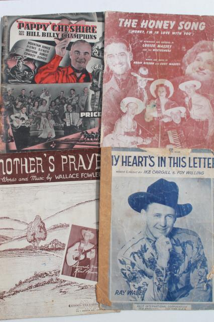 vintage sheet music lot, western cowboy songs w/ dude ranch
