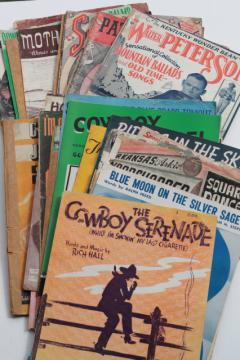 vintage sheet music lot, western cowboy songs w/ dude ranch cover art graphics