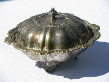 vintage sheffield plate, silver over brass dome covered butter dish cheese plate