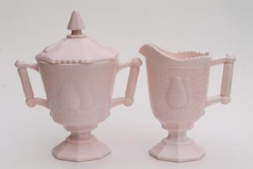 vintage shell pink milk glass cream pitcher & sugar bowl set sweet Baltimore pear