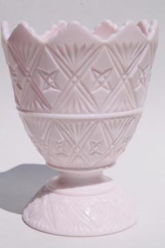 vintage shell pink milk glass planter pot or flower vase, Napco fine cut pattern