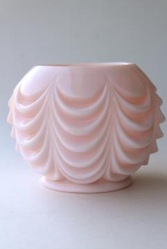 vintage shell pink milk glass rose bowl flower ball vase, Fostoria heavy drape pattern