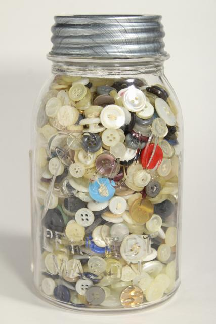 vintage shirt buttons, old Ball mason jar full of saved buttons, estate collection