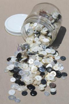 vintage shirt buttons, pearlies, plastic horn, mother of pearl shell buttons