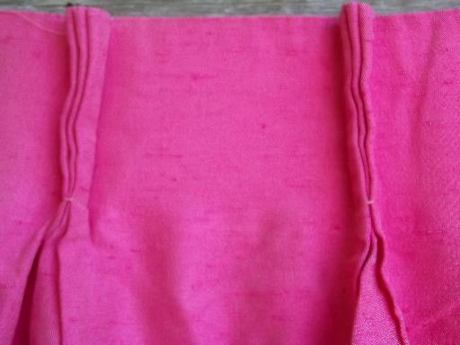 vintage shocking pink curtain panels, full length drapes, very retro!