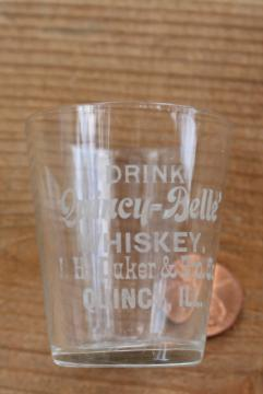 vintage shot glass liquor advertising Quincy Belle whiskey J H Duker Quincy Illinois