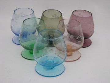 vintage shot glasses set, tiny colored glass brandy snifters, orig labels