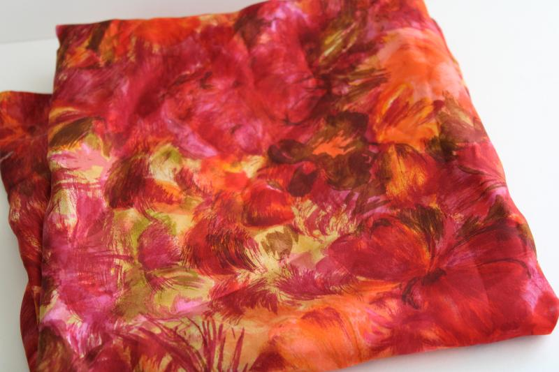 vintage silk fabric w/ watercolor style print in ruby red, orange, pink, gold