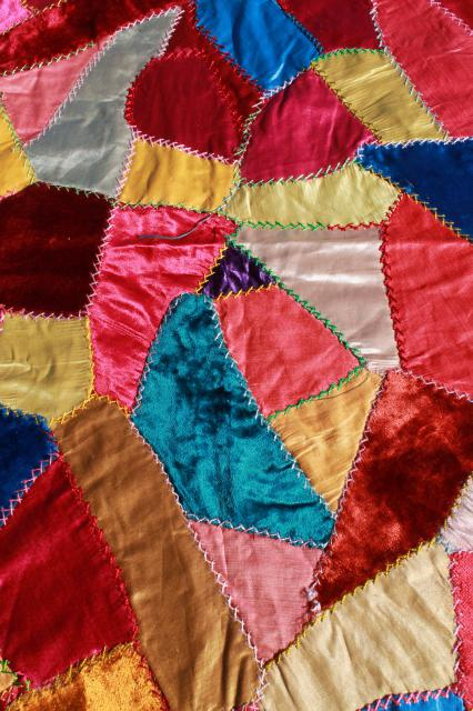 vintage silk satin & velvet crazy quilt embroidery pillow tops, jewel colors bohemian gypsy style!