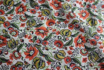 vintage silk shantung fabric with orange / green paisley floral print