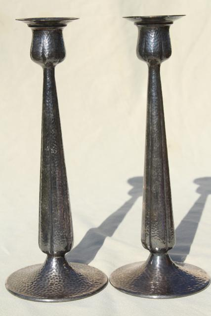 vintage silver candlesticks w/ hammered finish, tarnished antique silver plate