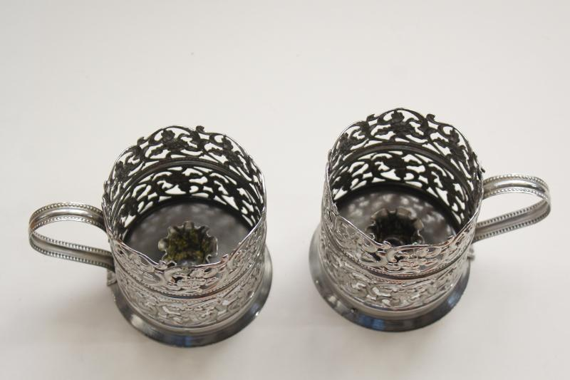 vintage silver chrome candle holders, handled candlesticks lantern pierced filigree