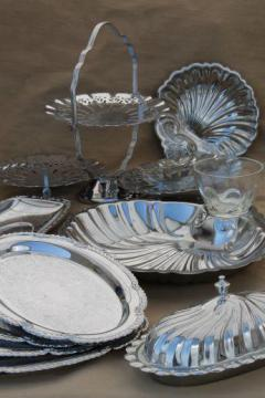 vintage silver chrome tea table serving pieces - sandwich trays, butter dish, tiered plate for cake or scones