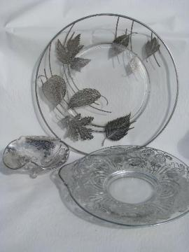 vintage silver deposit overlay glass, large cake plate, footed bowl