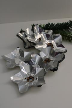 vintage silver foil stars or flowers reflectors for early electric Christmas lights